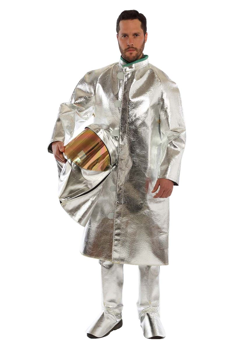 model in aluminized suit